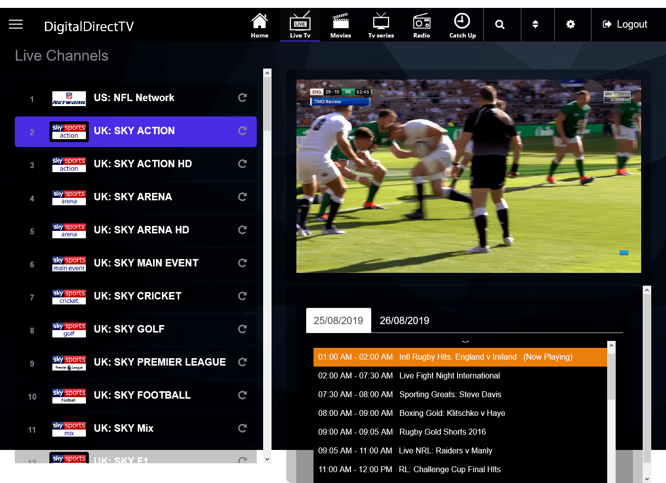 livestreamrugby premium streaming interface
